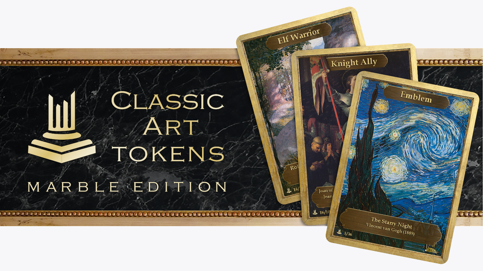 Step up your game and be the envy of your friends with Classic Art Tokens: Marble Edition.