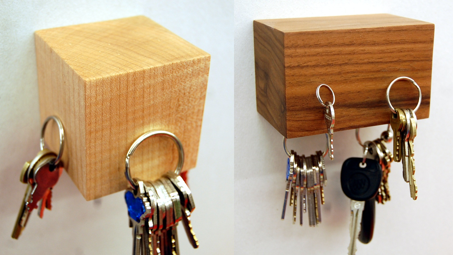 Contemporary wooden magnetic hooks. Great for keys and other household  objects.