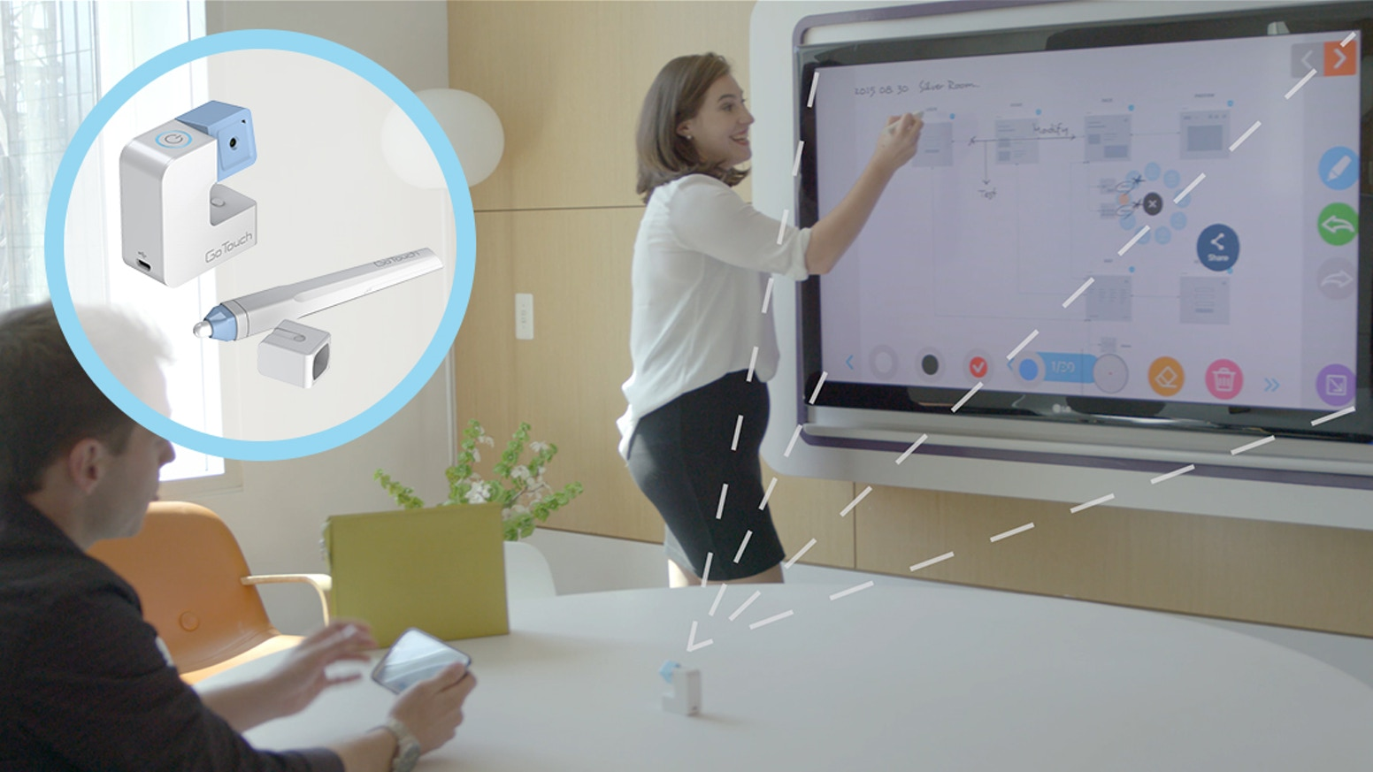 GoTouch is portable, easy-to-use, and instantly turns any TV or projector into a giant interactive whiteboard you can write or draw on.