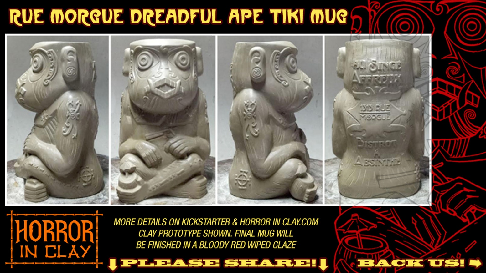 "The Murderous Ape Tiki Mug is a ceramic mug based on Edgar Allan Poe's story ""The Murders in the Rue Morgue"" created by Horror In Clay"