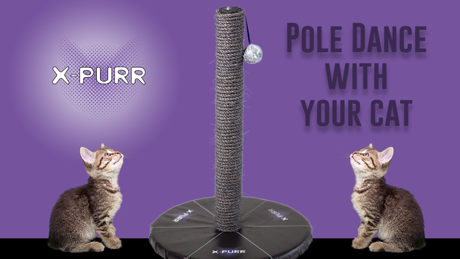 The X-Purr Stage Pole fulfills cat-owners' dreams of seeing their feline 'work the pole' while addressing a cat's natural instincts.