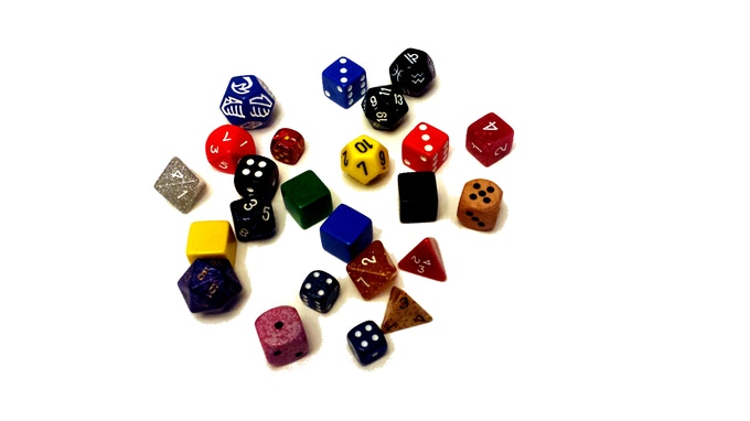 Dice not included with base game. Gather up your own, it's more fun that way!