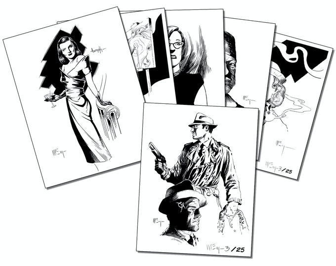 Limited edition character design print set, signed and numbered.