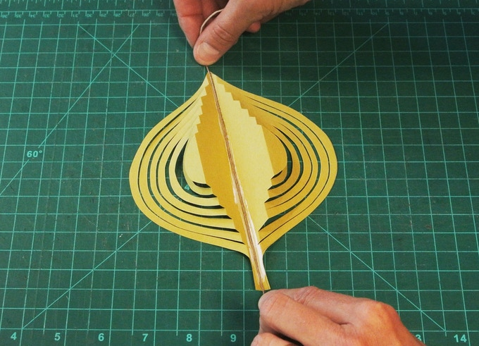 Turn a piece of Japanese Paper into the Leaf Mobile