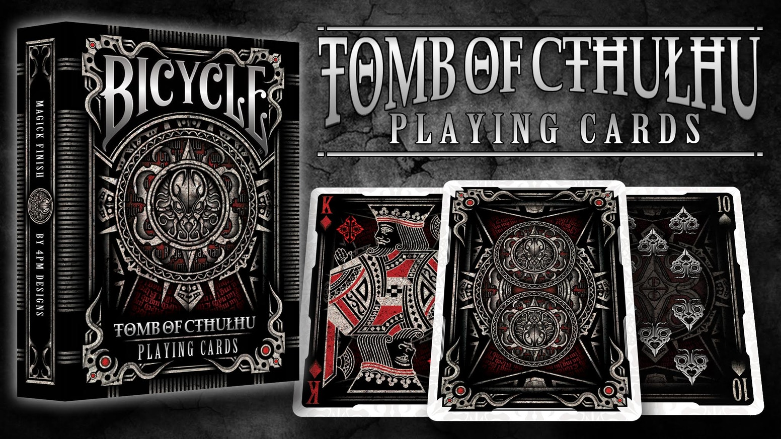 A new deck designed by 4PM Designs on the famous Cthulhu theme and successor of Bicycle Necronomicon Deck.
