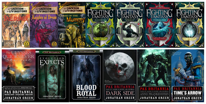 Fighting Fantasy Gamebooks and Pax Britannia novels written by Jonathan Green