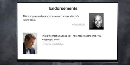 This is what the endorsement section will look like on the new beautiful page mode.