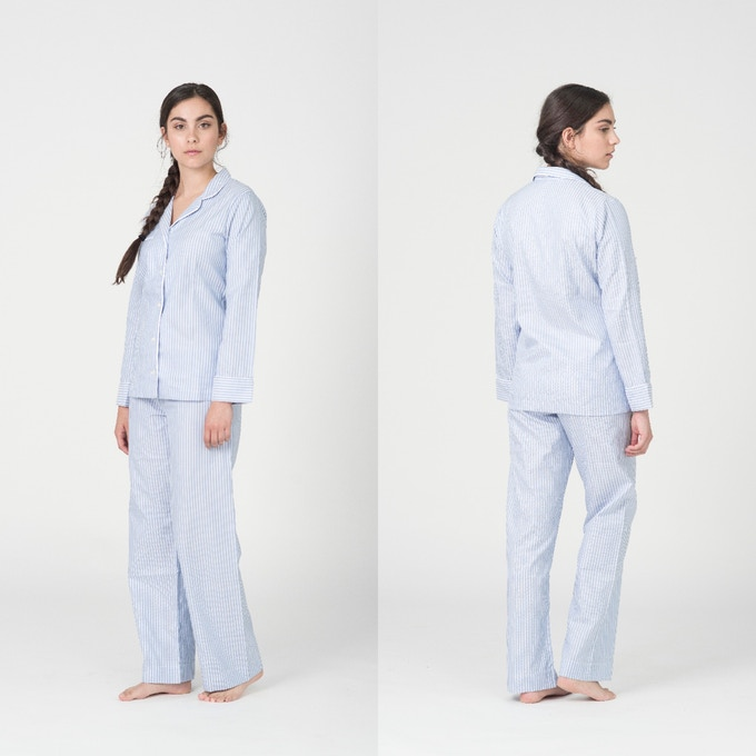 Women's Classic Blue & White Stripe Pyjama Shirt and Trouser