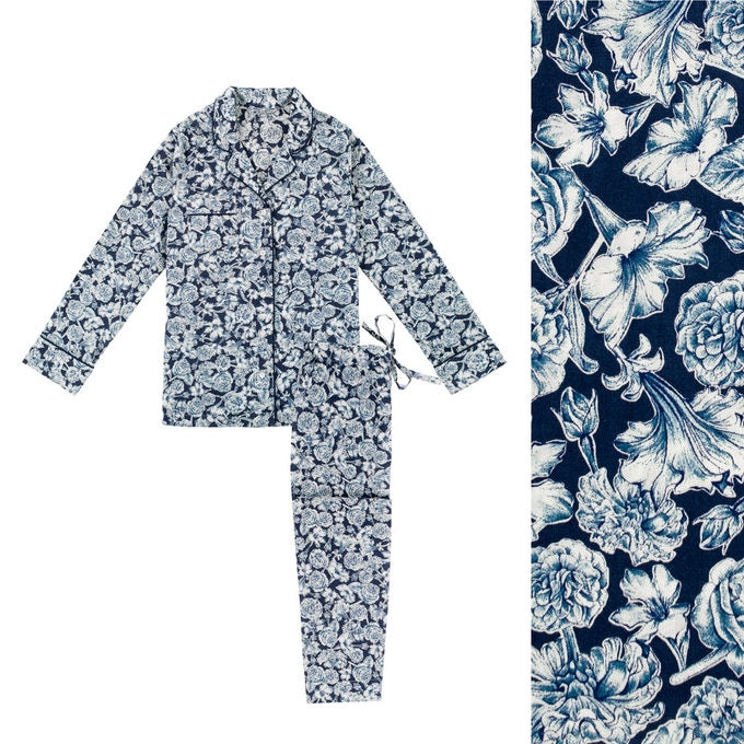 Women's Liberty London Blue Floral Pyjama Shirt and Trouser