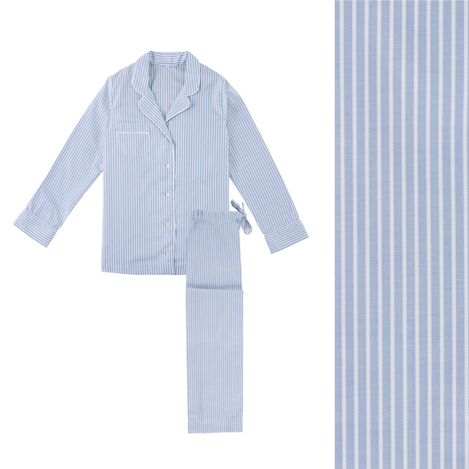 Women's Blue & White Stripe Pyjama Shirt and Trouser