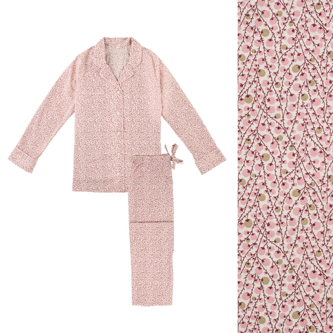 Women's Pink Twiglet Pyjama Shirt and Trouser
