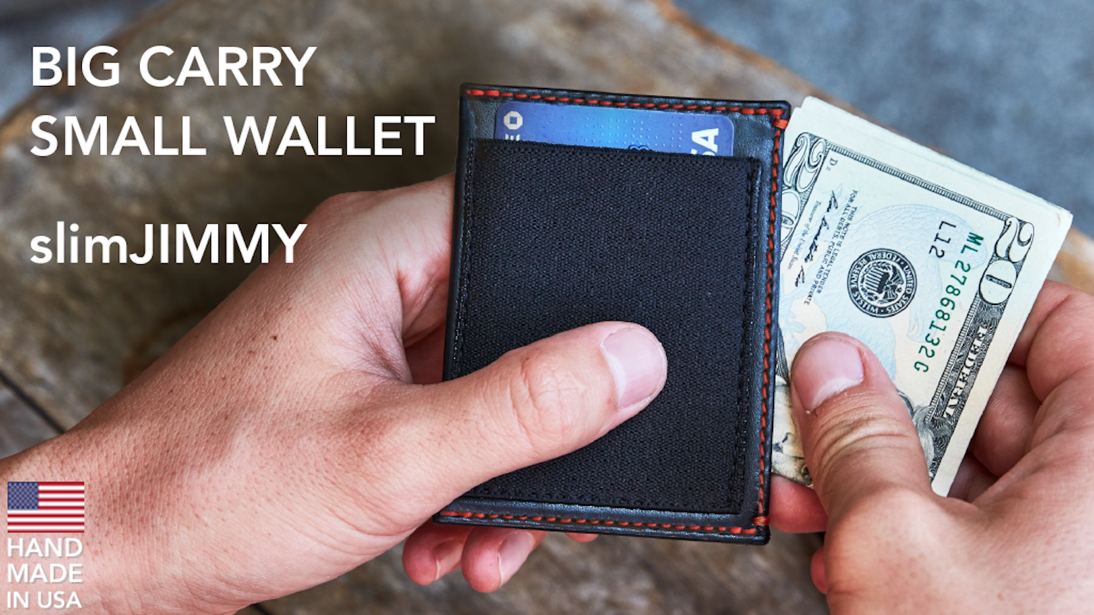 Slim Wallet for Fat Stacks of Cards & Cash. RFID Safe. Handmade in USA.