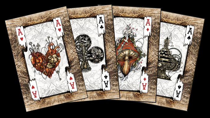 Some of the playing cards designed for the Alice's Nightmare in Wonderland themed deck.