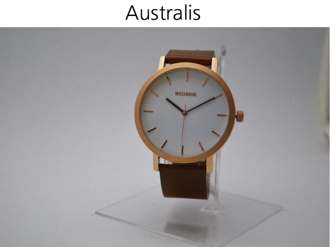 'Australis' | Rose gold case | Tan leather strap