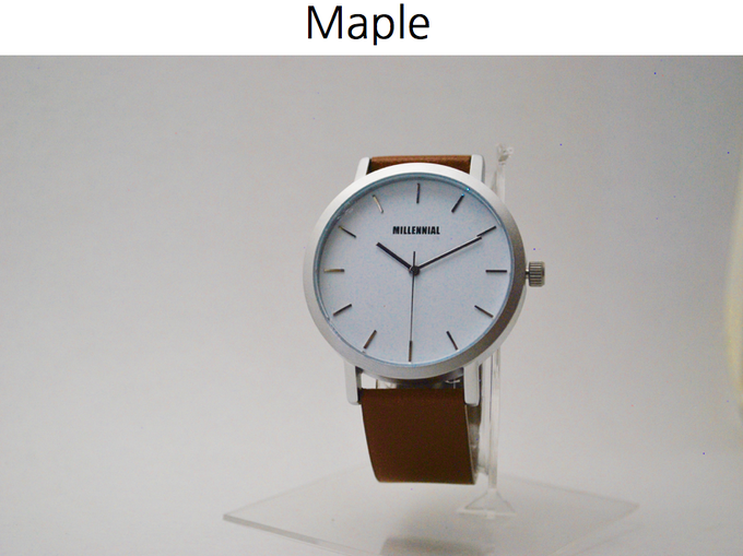 'Maple' | Silver steel case | Tan Leather strap