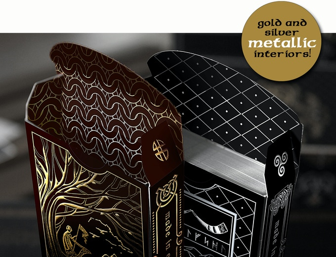 Metal foiled tuck interiors of Midgard