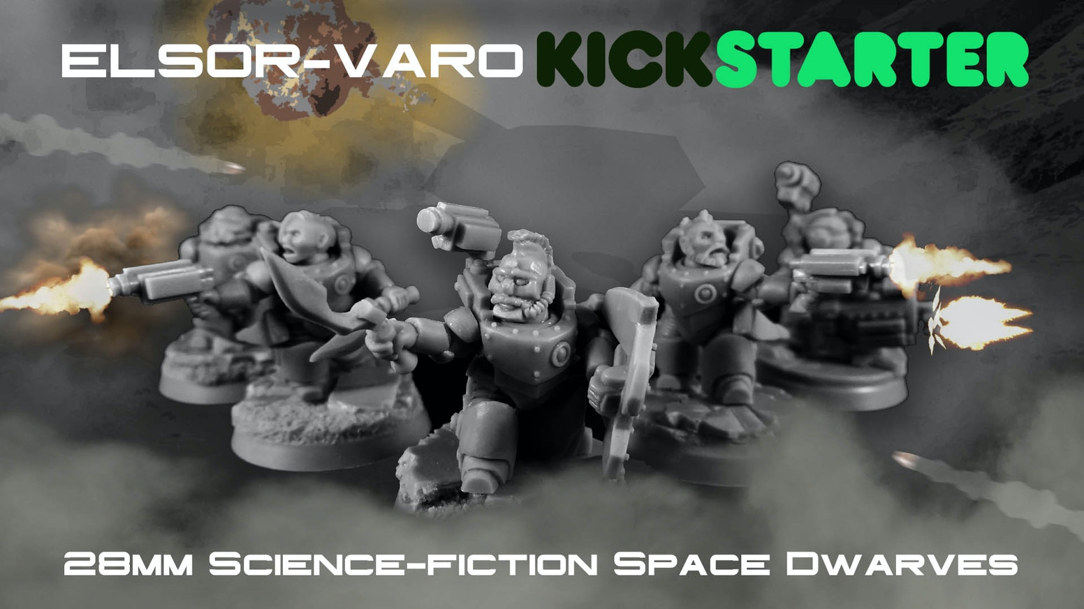 We have a set of 28mm Science Fiction Dwarves in heavy armour that we want to bring to you, our backers.