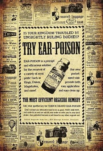 """Try Ear Poison"" Hamlet-inspired art by Laura Guzzo"