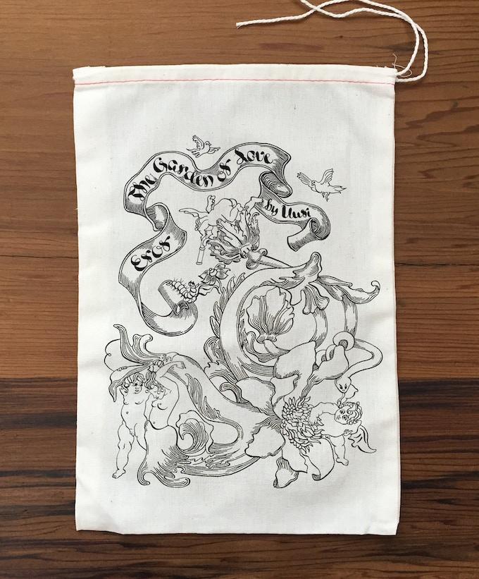 """""""Eros The Garden of Love"""" Screen print tarot bag."""