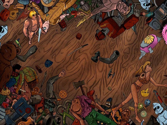Adam stands over the carnage in The Saturday Morning Wars, art by Kieran Squires, colours by Gustavo Jimenez.