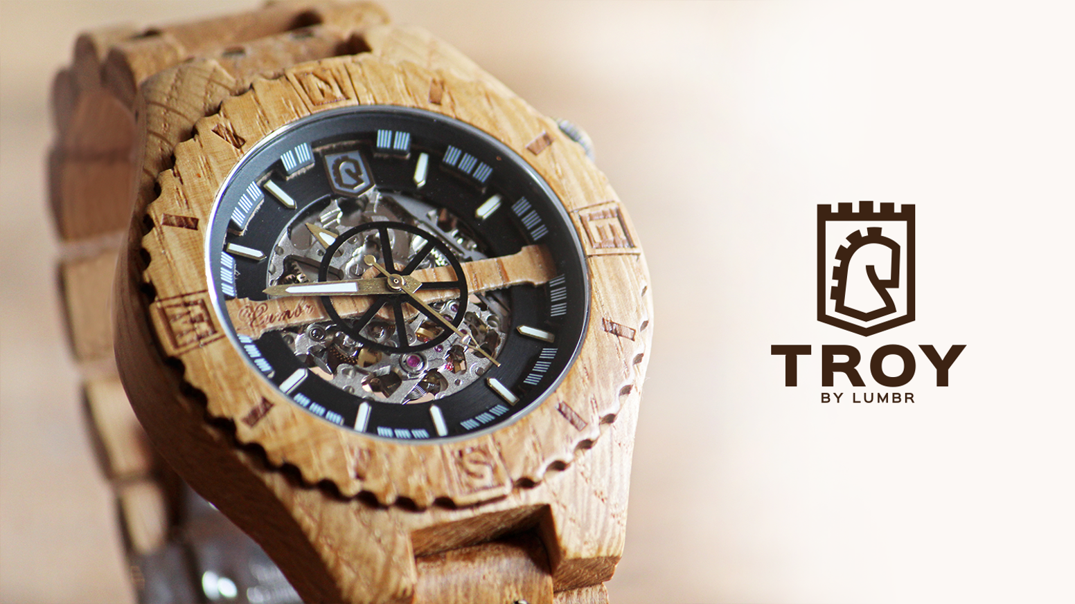 Handcrafted from oak shipwood, Troy is the first wooden watch to have a visible mechanical skeleton with automatic movement
