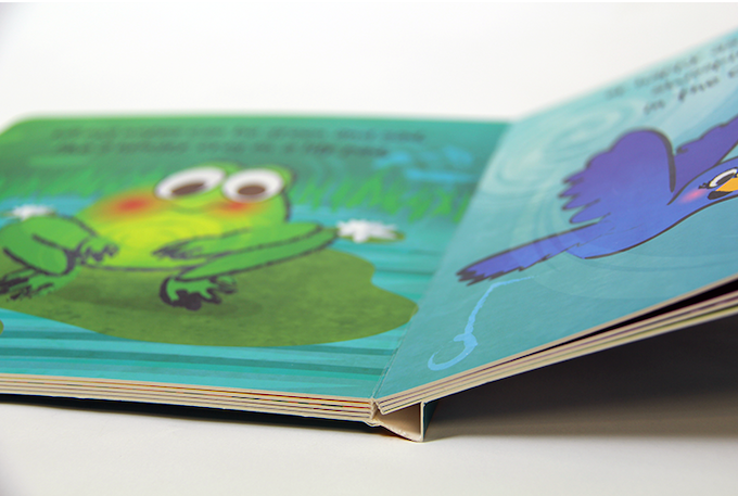 Close-up of board book binding from the printer