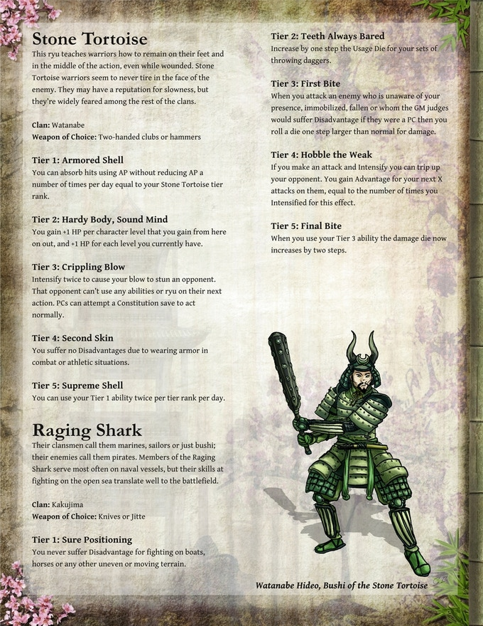A sample page of layout, art and rules