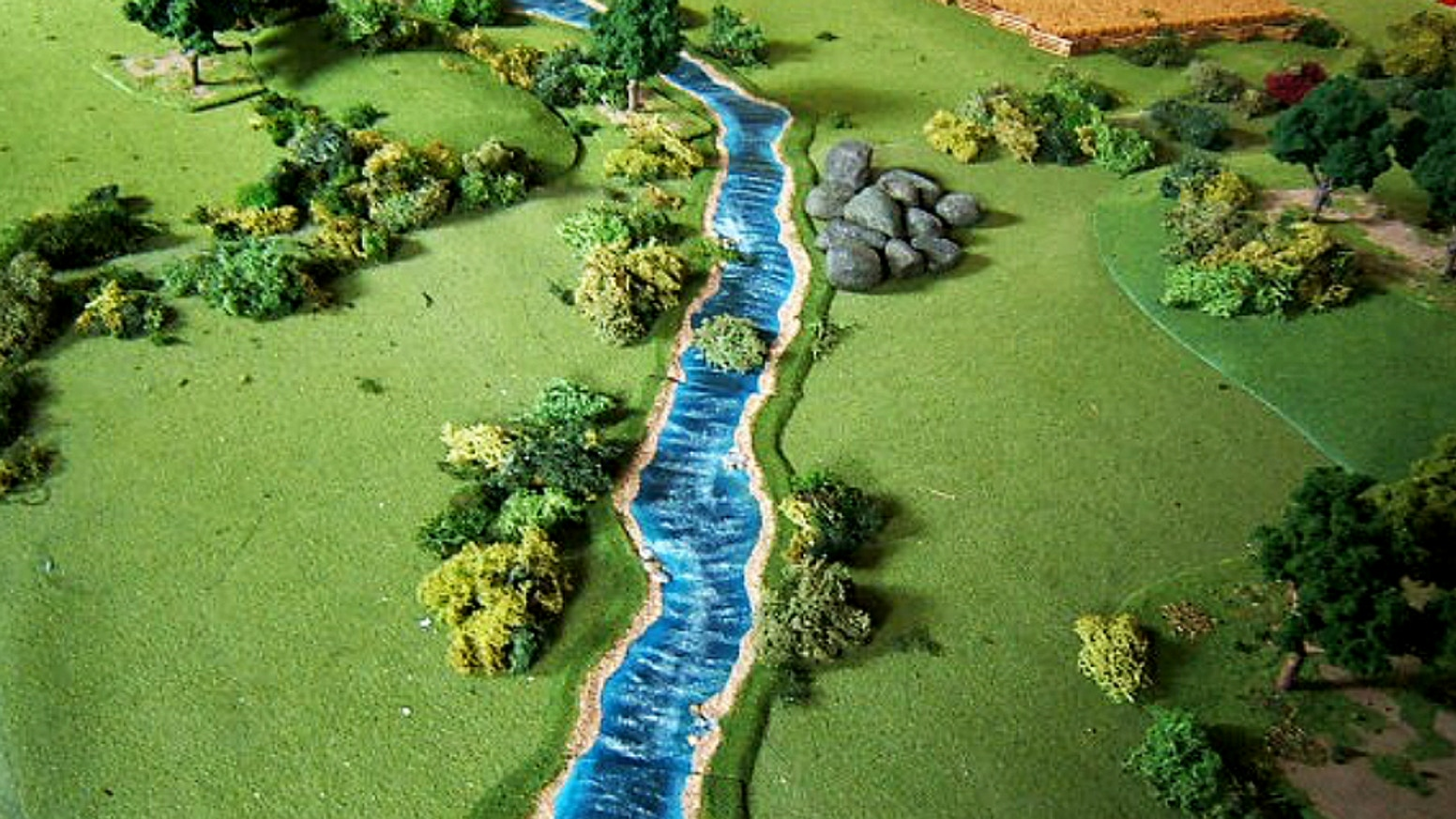"Low profile finished &  unfinished modular river terrain in 1/2"", 1"", 2"", 4"" water width.1/8"" max thickness. Hand made in Idaho, U.S.A."