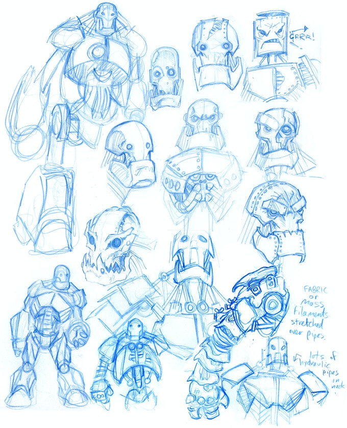 Kev Crossley's character designs for the Tin Woodman