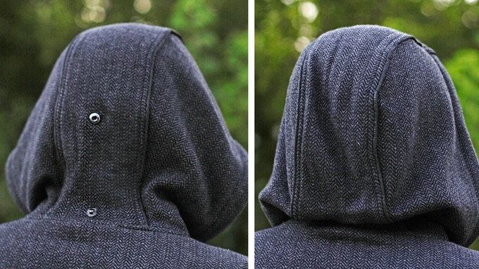 812f3b59d6f106 ADJUSTABLE HOOD SNAPS - The hood is over-sized so it can cover your eyes  when you want to take a nap. But, there is a button in the back of the hood  ...