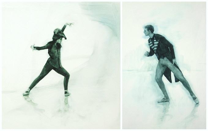 Ballet Cymru rehearsals, Allegra (oil on panel, 30cm x 30cm) and Mark (oil on panel, 23cm x 30cm), 2016