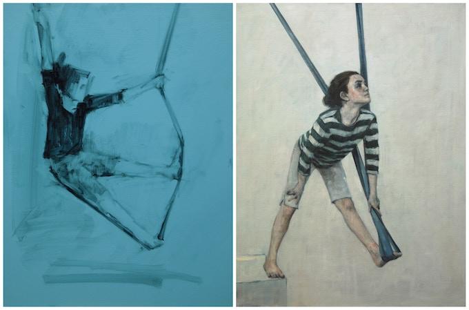 Lila 3 (oil on panel, 23cm x 30cm) and Lila 9 (oil on canvas, 66cm x 86cm), 2015