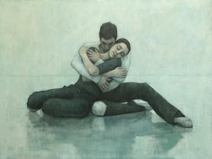 Ballet Cymru rehearsal - Nation of two (oil on canvas, 100cm x 75cm), 2016