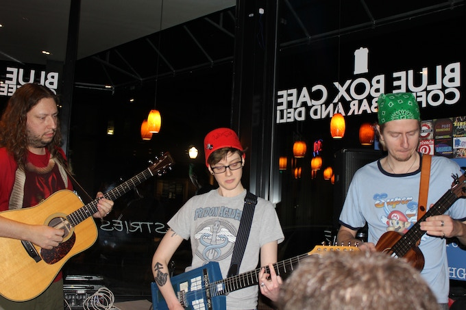 Check it out. We have cool bands at our marathons! And yes, that's a guitardis.