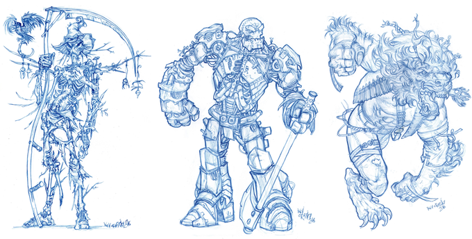 The Scarecrow, Tin Woodman and Lion character designs by Kev Crossley