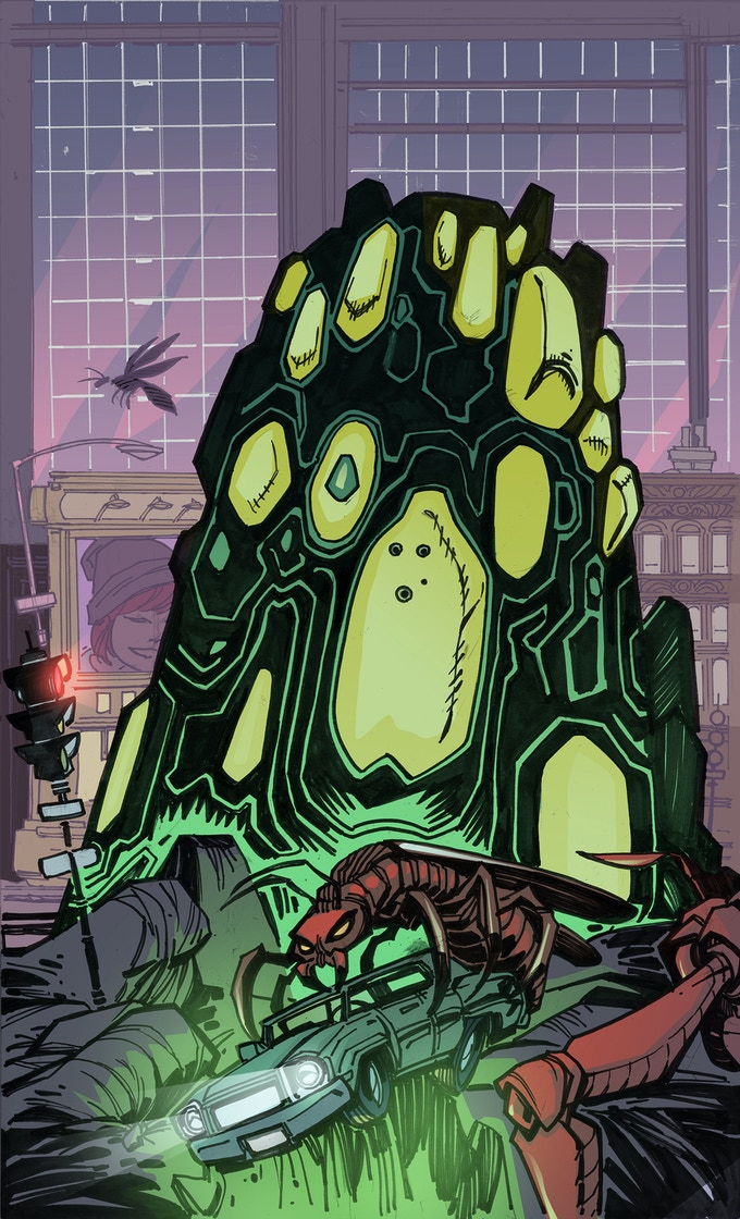 An alien superstructure begins taking shape in Richmond, signaling a definitive shift in the crisis. Art by Paris Cullins, Colors by Tom Long.