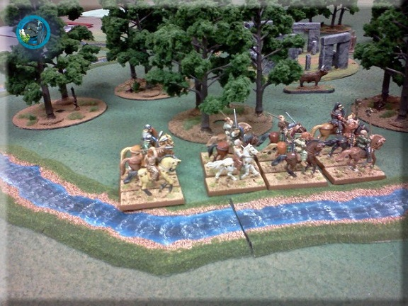 """28mm medieval cavalry, 2"""" temperate blue river"""
