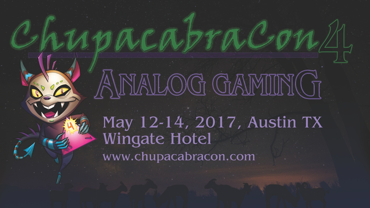 ChupacabraCon is Austin's premier Analog Gaming con! Meet, play with and learn from top RPG authors, game creators and more!