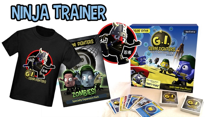 """One copy of """"G.I. Germ Fighters: Base Camp"""" (Deluxe edition)  GIGF """"Flying Ninja"""" Sticker  SIGNED GIGF """"Zombie Horde"""" Poster  GIGF """"Flying Ninja"""" Tee  Signed prototype materials (Small pack of original cards, bits etc.)"""