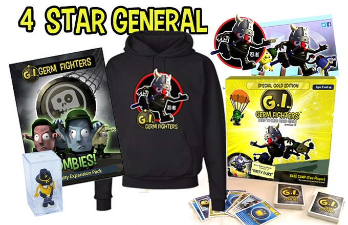 """1 ORIGINAL TOY PROTOTYPE MODEL (ONLY 60 MADE)  One copy of Gold Box - Collector's Edition of Base Camp Game, signed and numbered (1 of 10), """"Flying Ninja"""" Hoodie, """"Flying Ninja"""" Sticker, SIGNED """"Flying Ninja"""" Poster, SIGNED """"Zombie Horde"""" Poster"""
