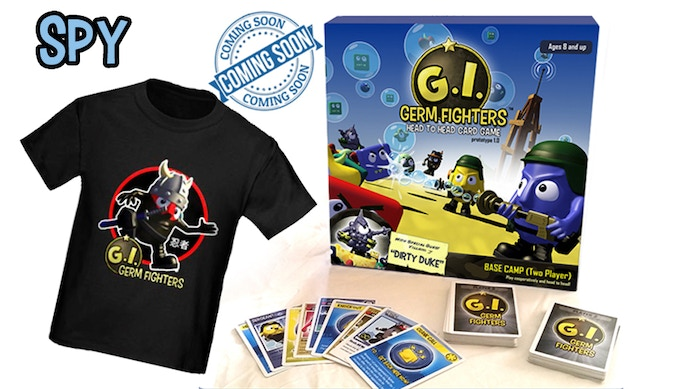 """GI Germ Fighters """"Flying Ninja"""" Tee  One copy of """"G.I. Germ Fighters: Base Camp"""" (Standard edition)"""