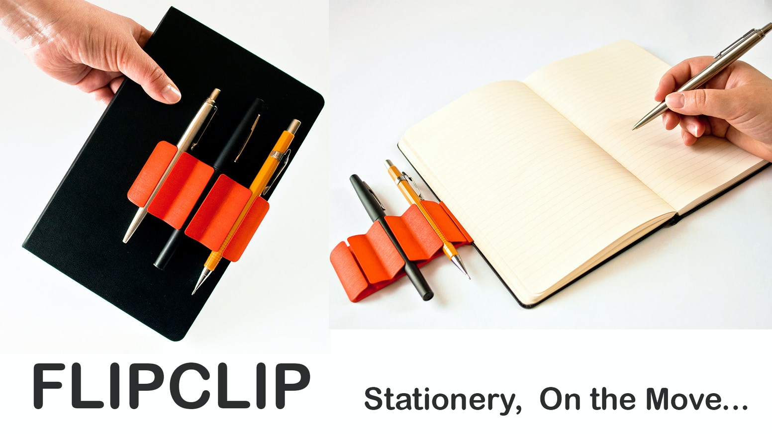 FLIPCLIP attaches to any notebook, whether on the move or at a desk, have easy storage and access to your most essential stationery!