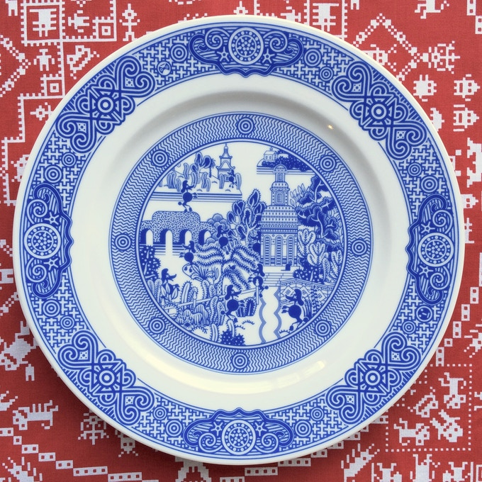 Calamityware dinner plate 11: zombie poodles