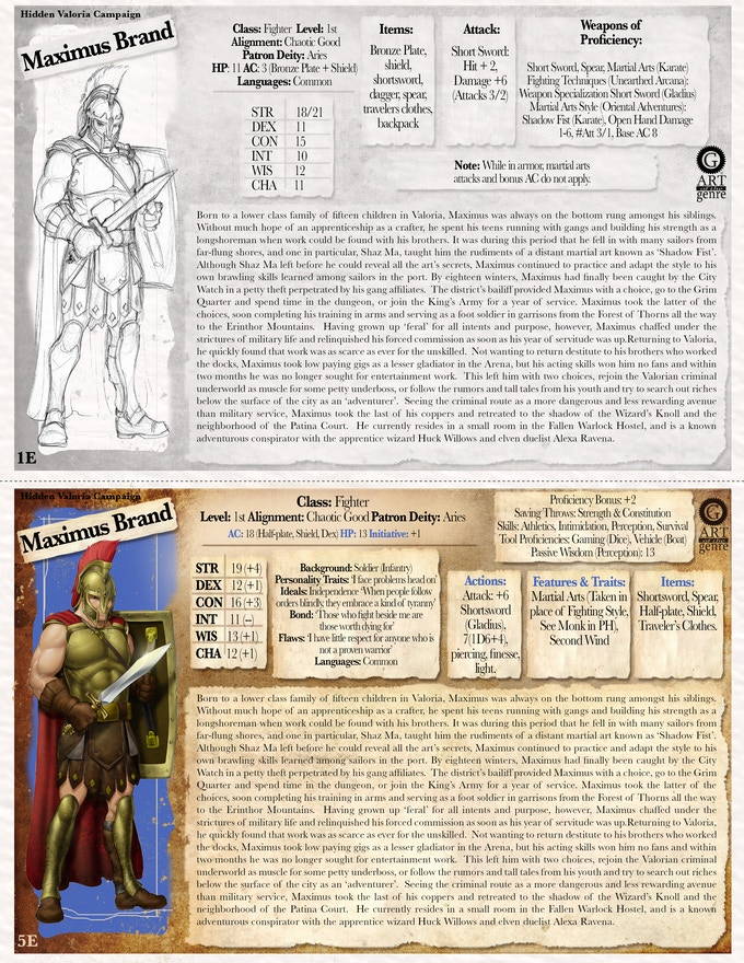 Sample Iconic 1E & 5E Character Card