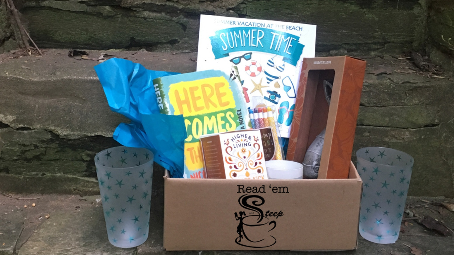 A themed subscription box including indie books, tea, coffee, treats, swag, and support for an amazing cause. www.reademandsteep.com