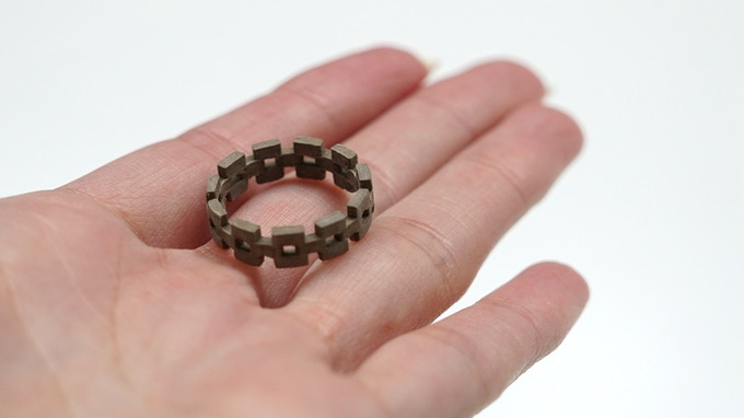 A ring 3D printed with copperfill filament