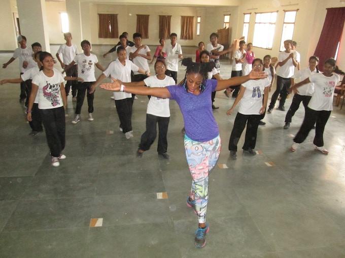 Ansley Jones teaching hip hop at St. Karen's High School with the Next Level Program, Patna, Bihar