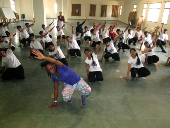 "Ansley Jones teaching the ""6 step"" at St. Karen's High School with the Next Level Program, Patna, Bihar"