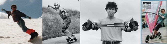 Stephan with his first skateboard prototypes 1993
