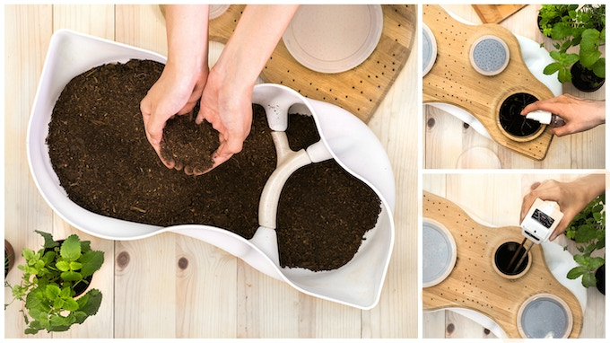 STEP 1. Place approximately 7 litres of sawdust soil mix, containing 500–600 grams worms and microorganisms, into BIOVESSEL. Spray surface with water to moisten environment and check for moisture, light, and pH level through Observation Hole